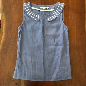 Boden Blue Linen Tank With Decorated Collar
